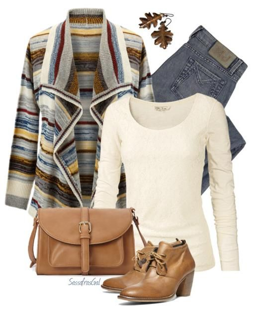 Casual Fall Outfit Polyvore- love the multicolored sweater