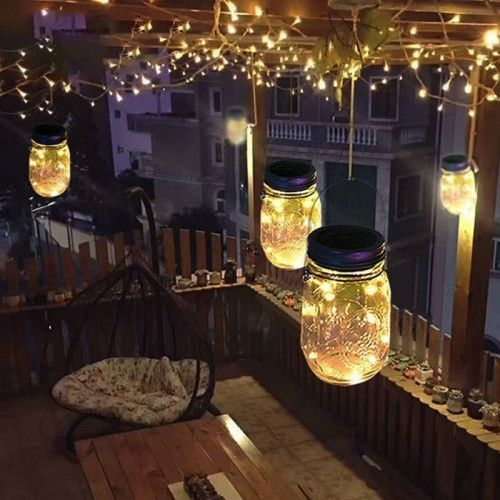 Hanging Solar Mason Jar Lid Lights, String Fairy Lights Solar Laterns Table Lights images