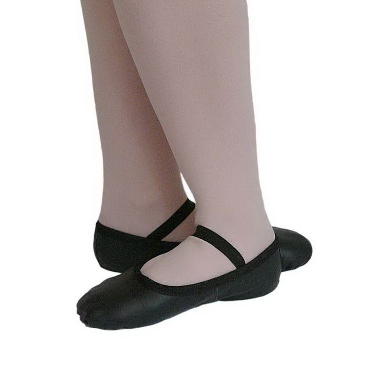 Ballet Leather Shoes Black Full Sole with Elastics