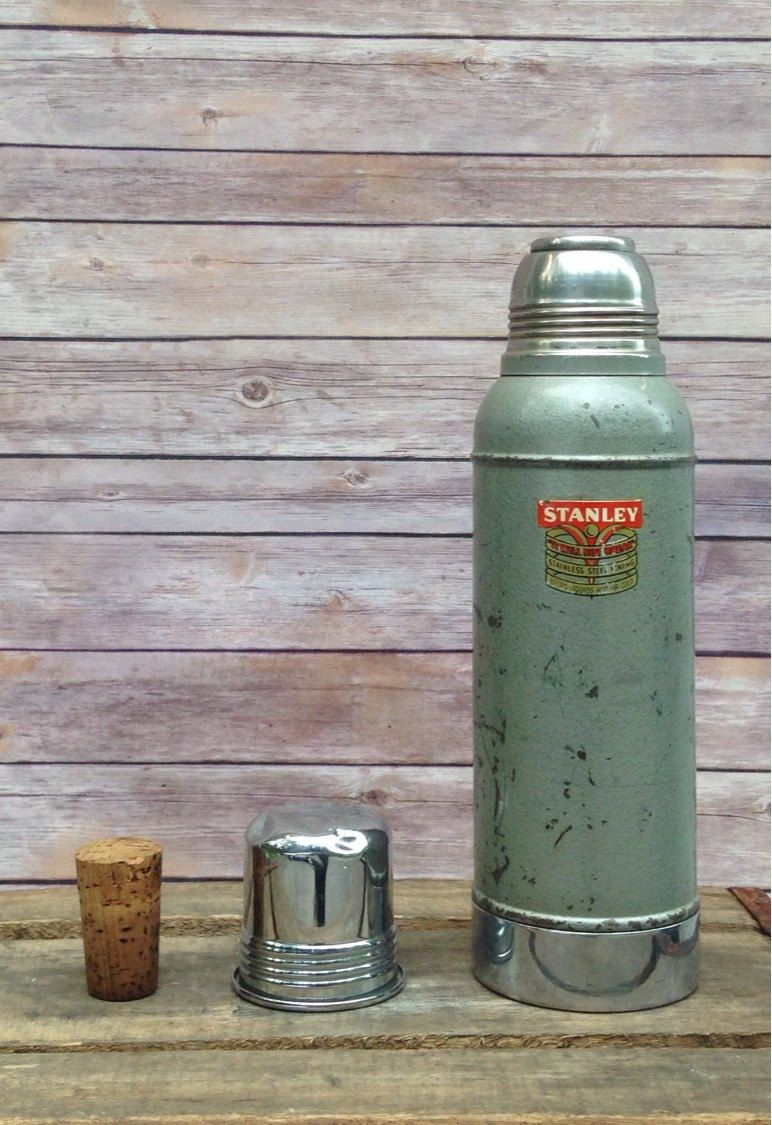 Vintage 1950's Stanley Super Vac Green Thermos with Stainless Steel