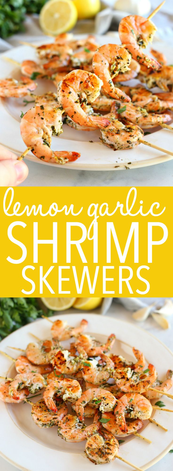 Lemon Garlic Grilled Shrimp Skewers - The Busy Baker
