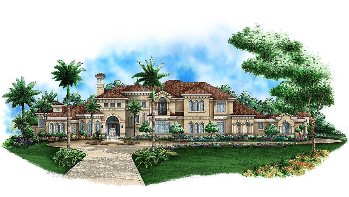 Plan 66272we Step Into Luxury Mediterranean Style House Plans Mediterranean Mansion Mediterranean House Plan