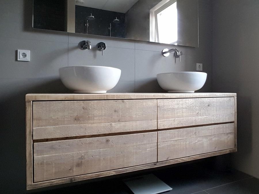 Steigerhouten badkamer meubel top | Home | Pinterest | Waschtisch ...