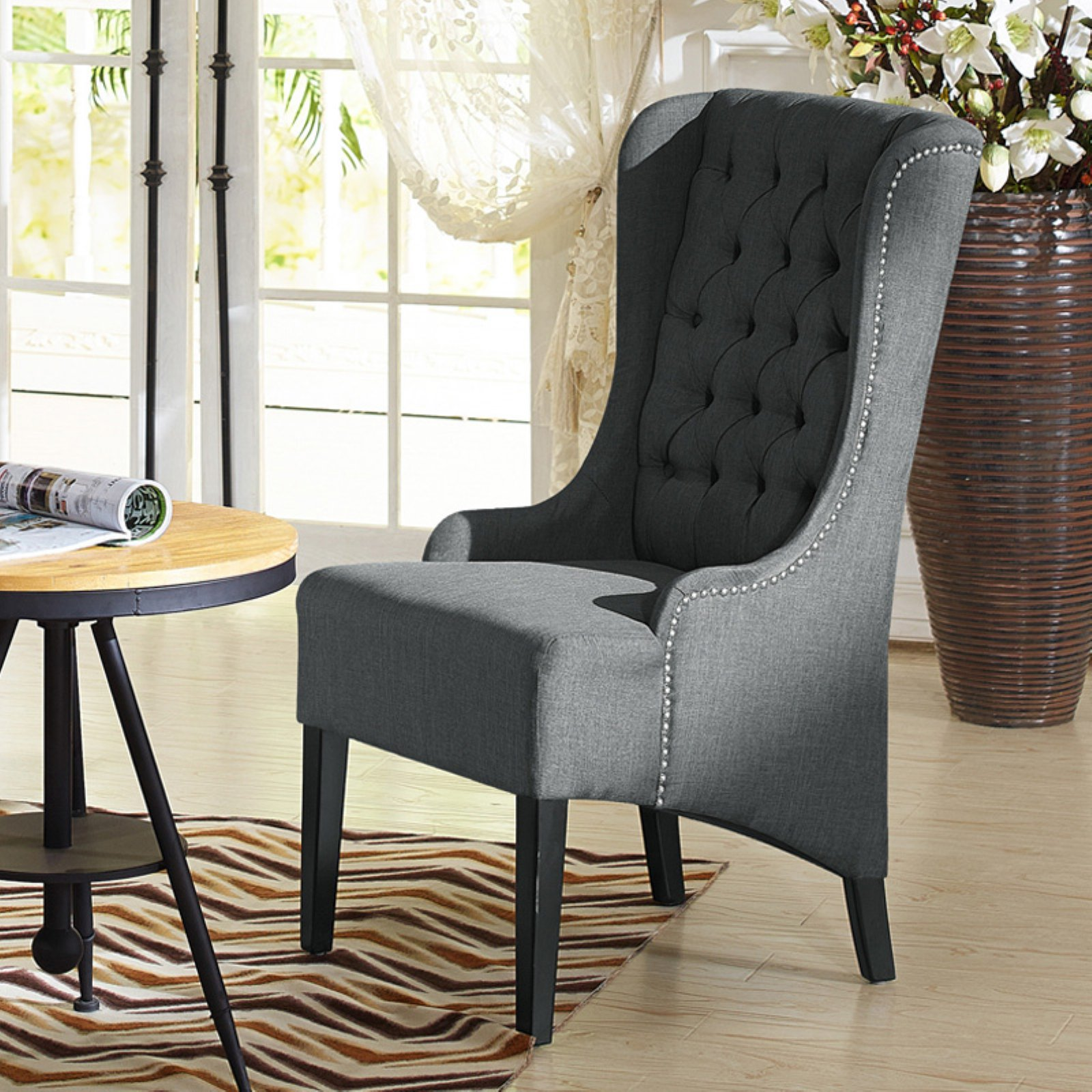 Baxton Studio Vincent Wingback Chair In 2019 Tufted