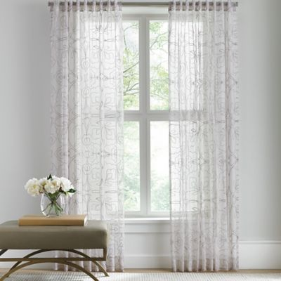 Buy Barbara Barry Sheer Tracery Rod Pocket 108 Inch Window Curtain Panel In  Quartz From