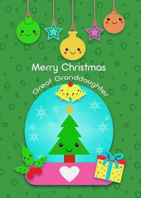 Christmas to Great Granddaughter Cute Kawaii Characters card ,Merry Christmas to Great Granddaughte