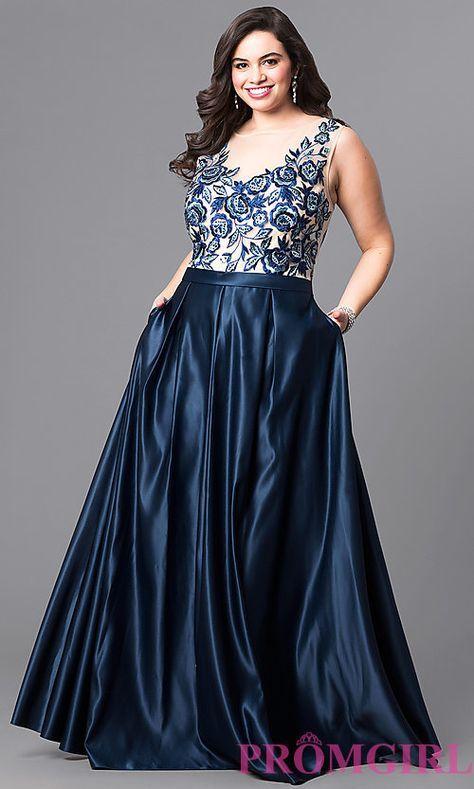 Long Navy Blue Plus-Size Prom Dress | Plus size evening gown ...