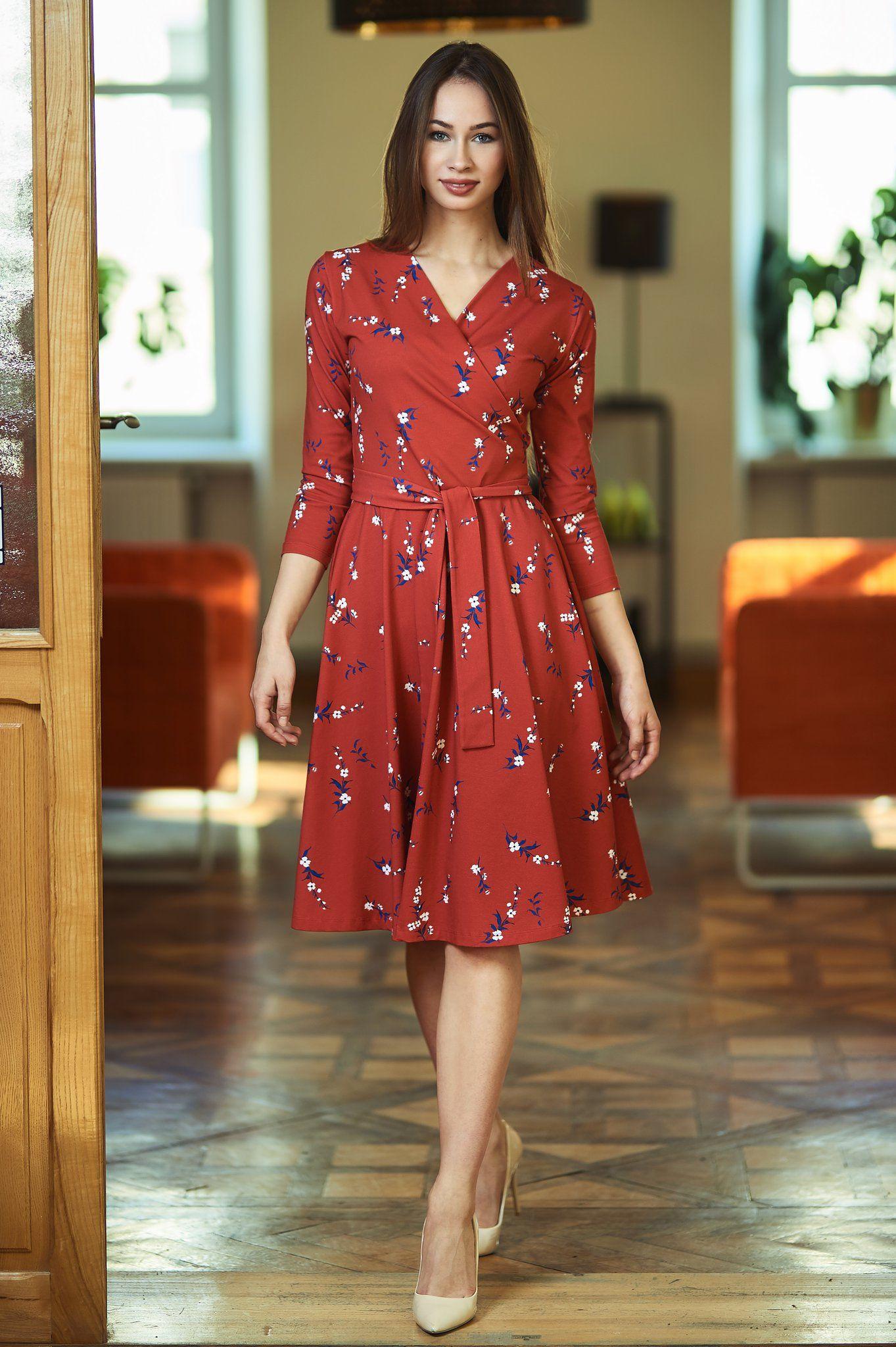 d9a99cc13e25f5 ATENCJA czerwona kwiatki | kopertowa sukienka rozkloszowana - Sukienki,  spodnie damskie na codzień | Zygzak.net