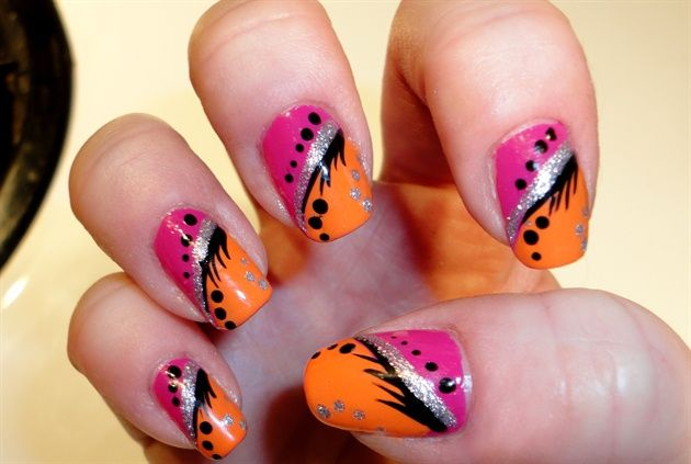 Orange And Pink With Silver Glitter Nail Art Design Nails