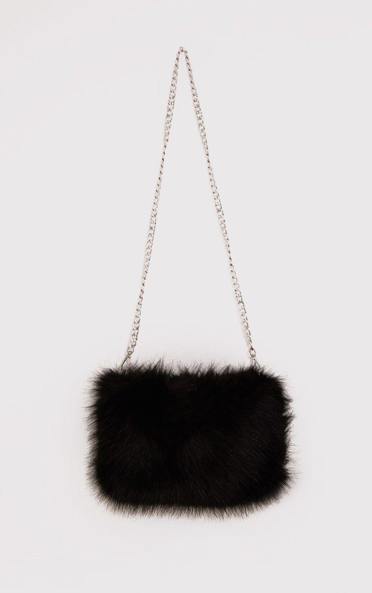 74dee0a1d663 Christah Black Faux Fur Chain Shoulder Bag
