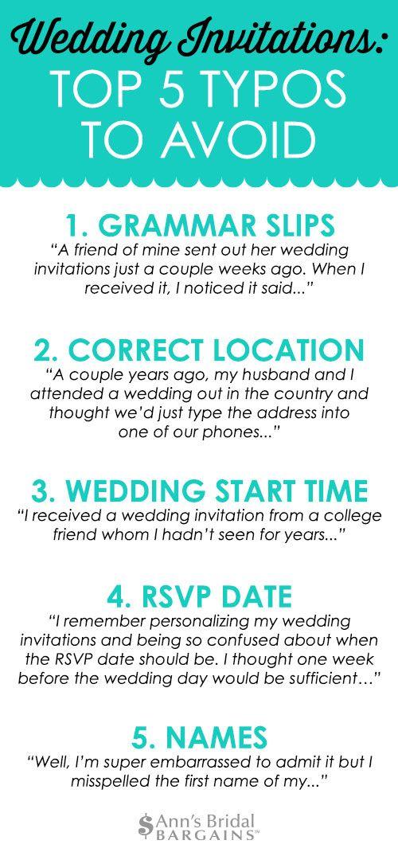 Wedding Invitations Top 5 Typos To Avoid Wedding Invitations Wedding Help Invitations