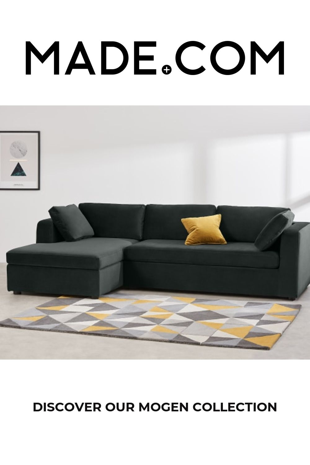 Mogen Left Hand Facing Chaise End Sofa Bed with Storage, Dark Anthracite Velvet