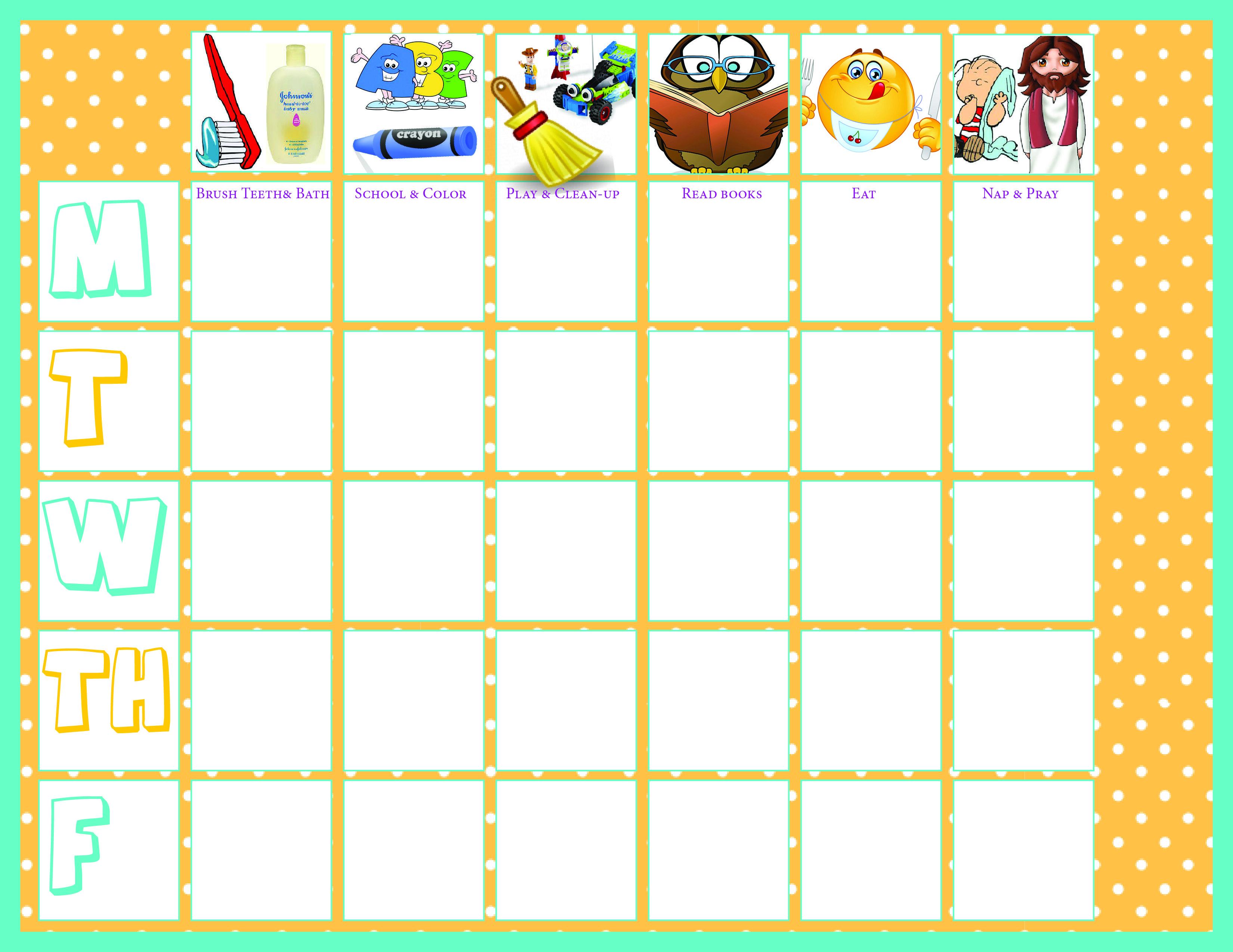 toddler preschool chore chart Blank | Justice | Pinterest ...