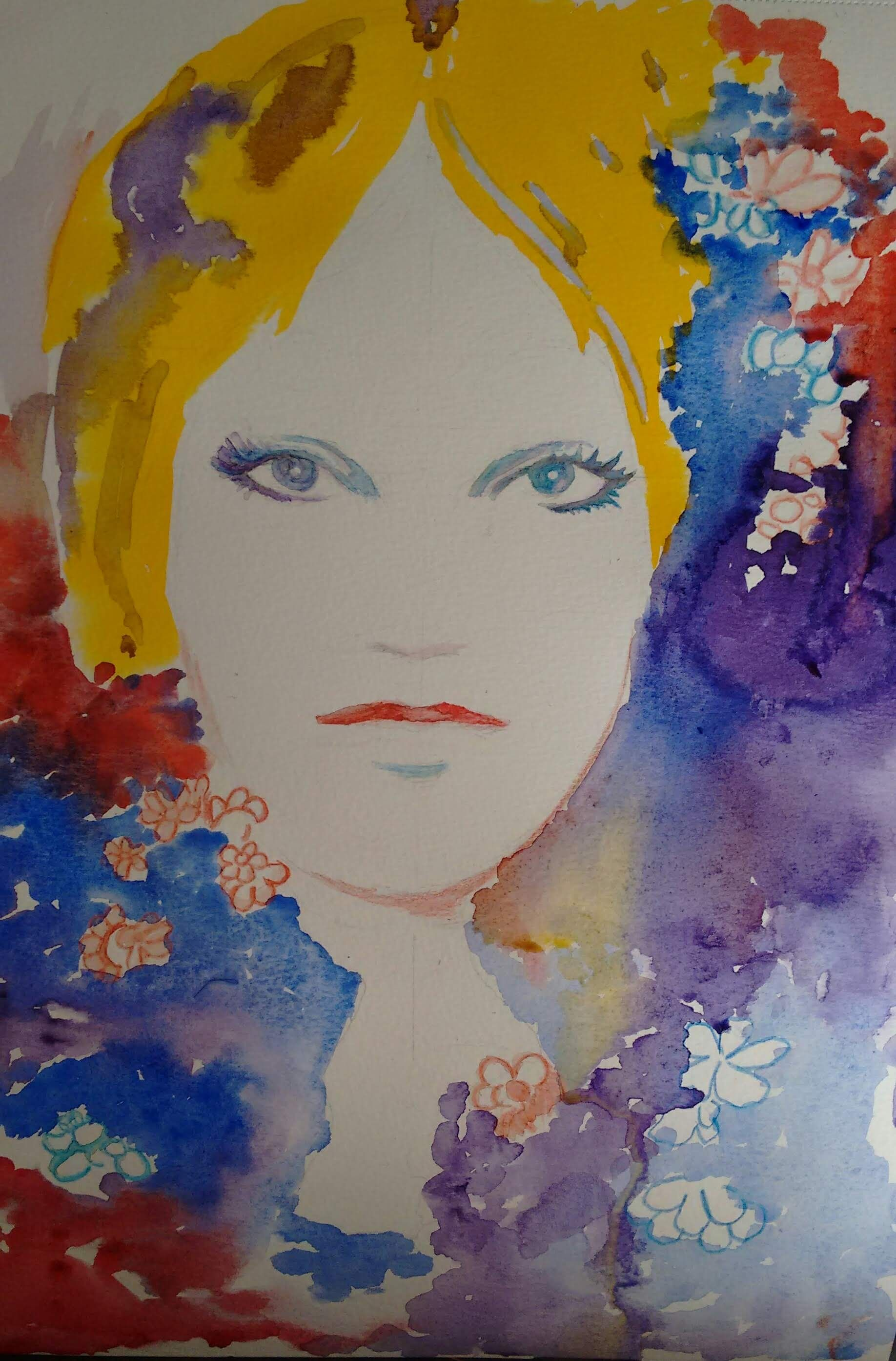 A Cate Parr style watercolor with a Bob Dylan song title