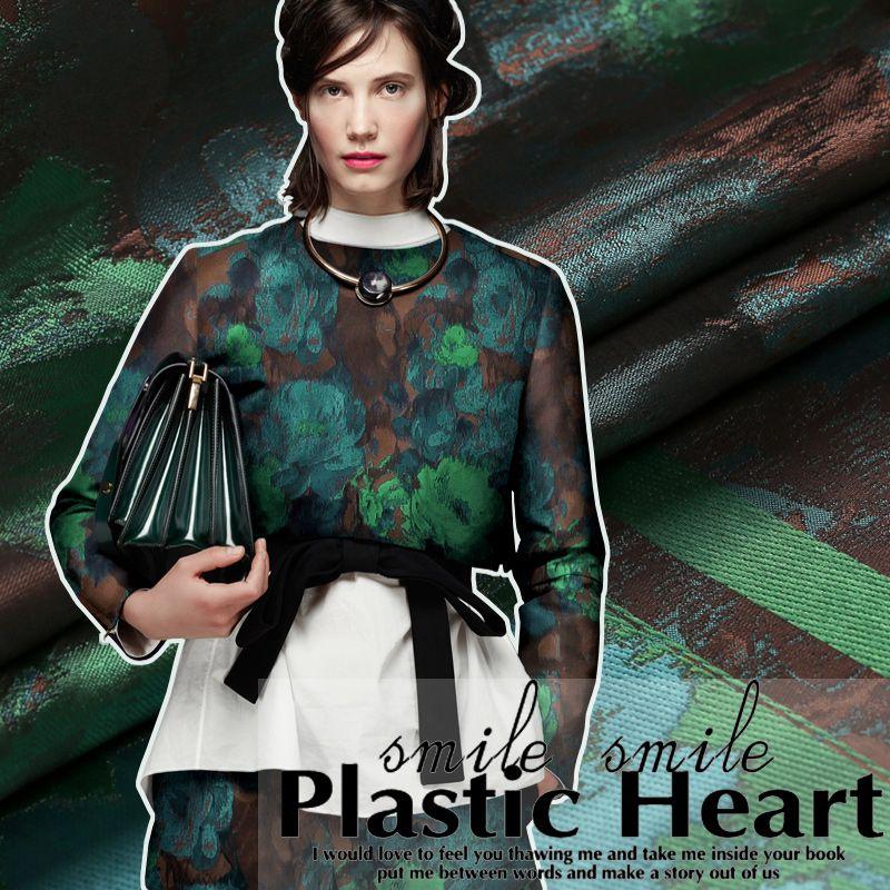 Жаккард зеленый коричневый ткань дамаст для весна и осень верхняя одежда  пальто платье костюм(China (Mainland)) 7d1276ea49088