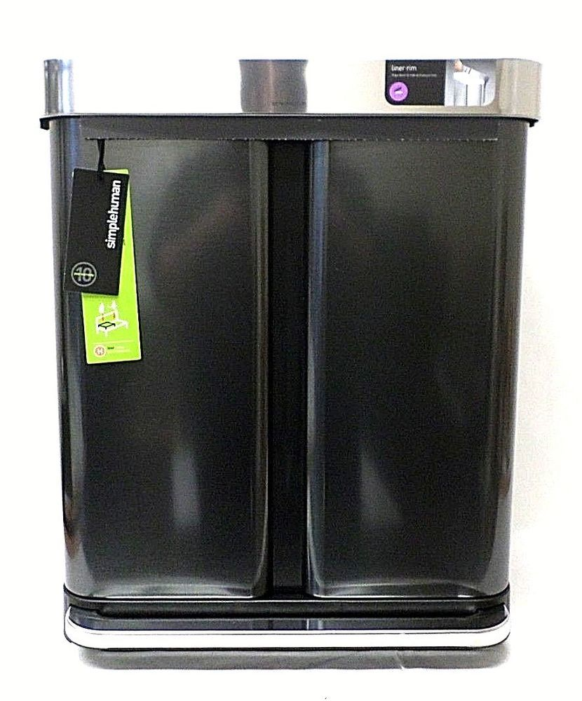 Simple Human Trash Can 58 Liter 153 Gal Black Stainless Steel Dual Pro Parts Diagram In Addition Dyson Dc33 As Well Rug Compartment