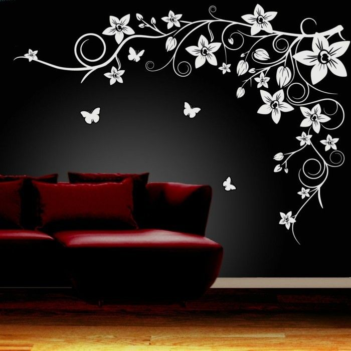 coole wandtattoos wohnideen wohnzimmer blumen schwarze wand - wandtattoos für schlafzimmer