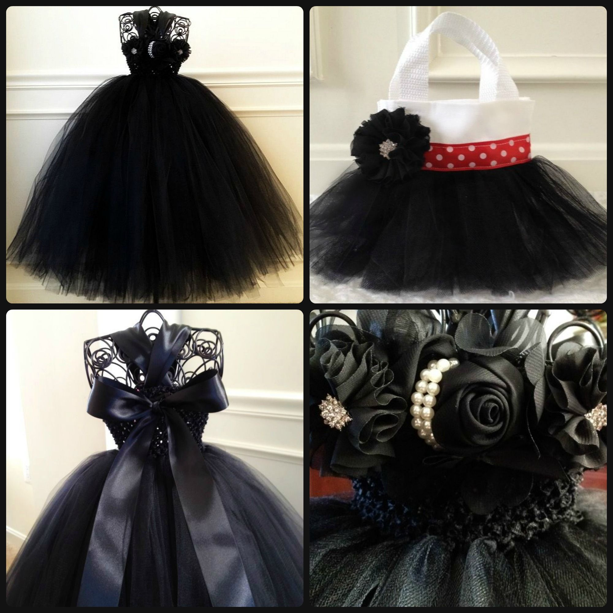 Black and red flower girl tutu dress with matching tutu purse