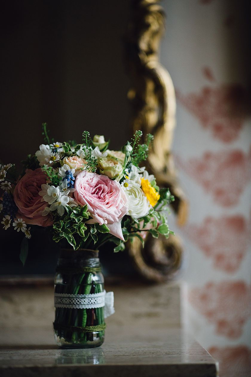 Beautiful spring flowers used for a country, rustic spring wedding at Askham Hall, Cumbria