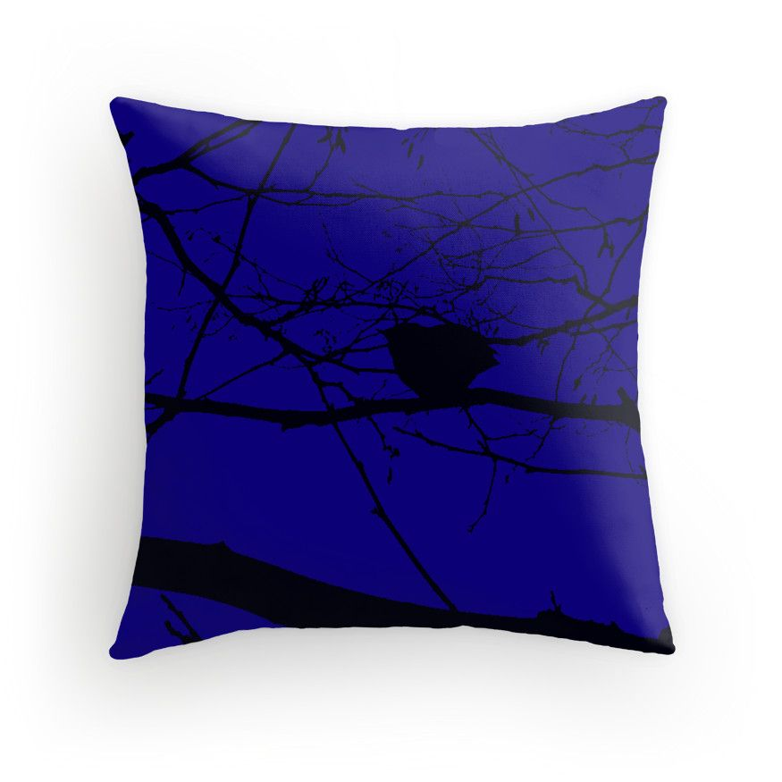 Twilight Bird by TheDeamond Throw pillow, gorgeous deep blue!