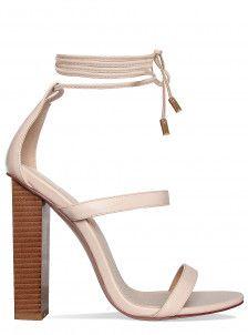 53722122ffd1 Tayla Nude Lace Up Block Heels