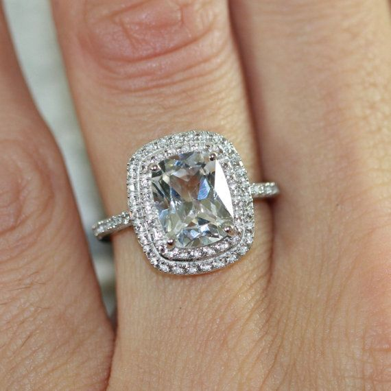 white sapphire double halo engagement ring in white gold cushion cut sapphire wedding ring size 7 resizable - White Sapphire Wedding Rings