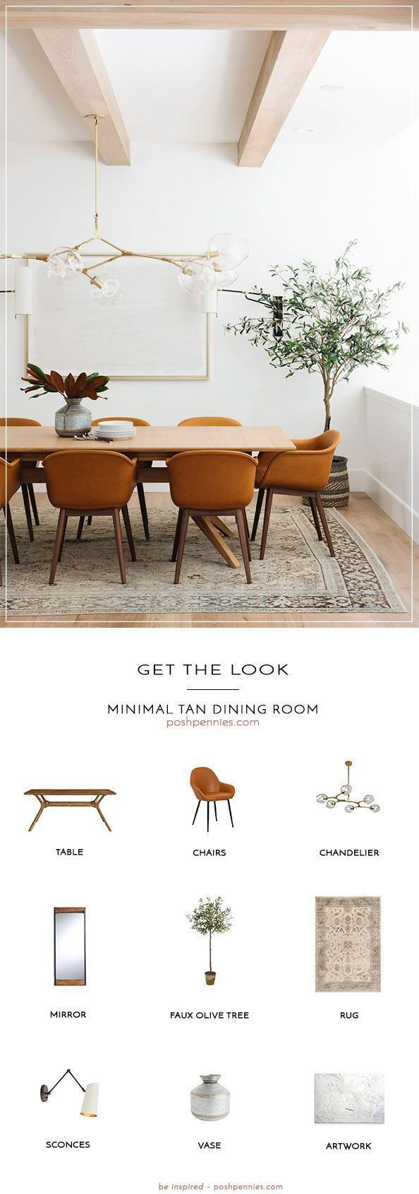 Get The Look: Minimal Tan Dining Room | Posh Pennies