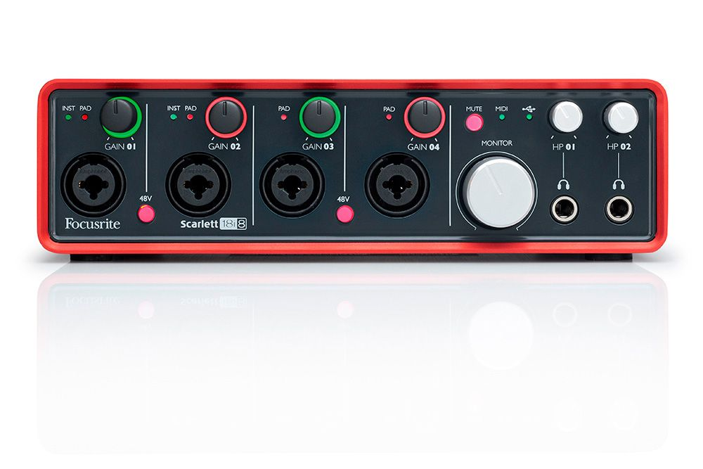 Focusrite SCARLETT 18i8 USB Audio Interface. With four Focusrite mic pres, Scarlett 18i8 is designed for producers and recording artists or bands who require the ability to record a significant number of sources at the same time including multiple mics/instruments, with expansion capability enabling it to handle multiple studio recording requirements. Pro Audio