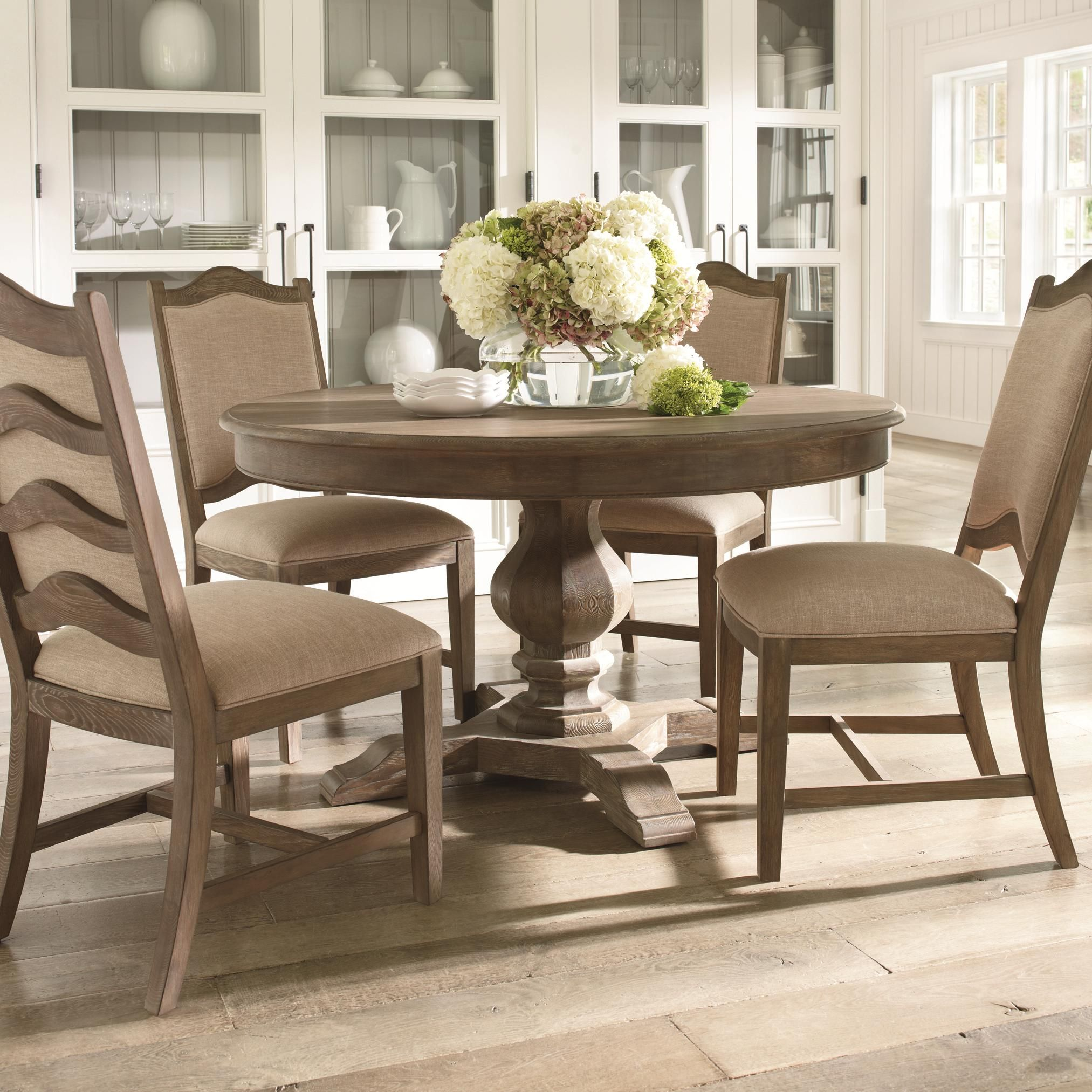 Cobblestone Dining Cobblestone 5 Piece Pedestal Base Table And Ladder Back Chair Set By Schnadig