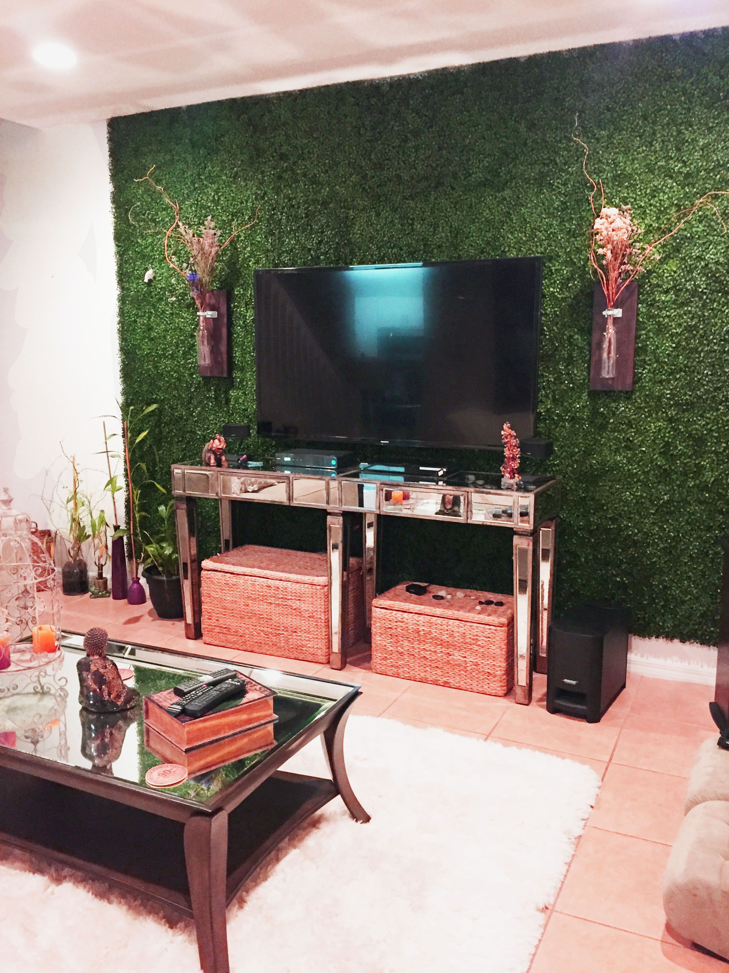 Give a fresh look to your living room with this artificial leaf panels. |  Living room decor on a budget, Artificial grass wall, House plants decor
