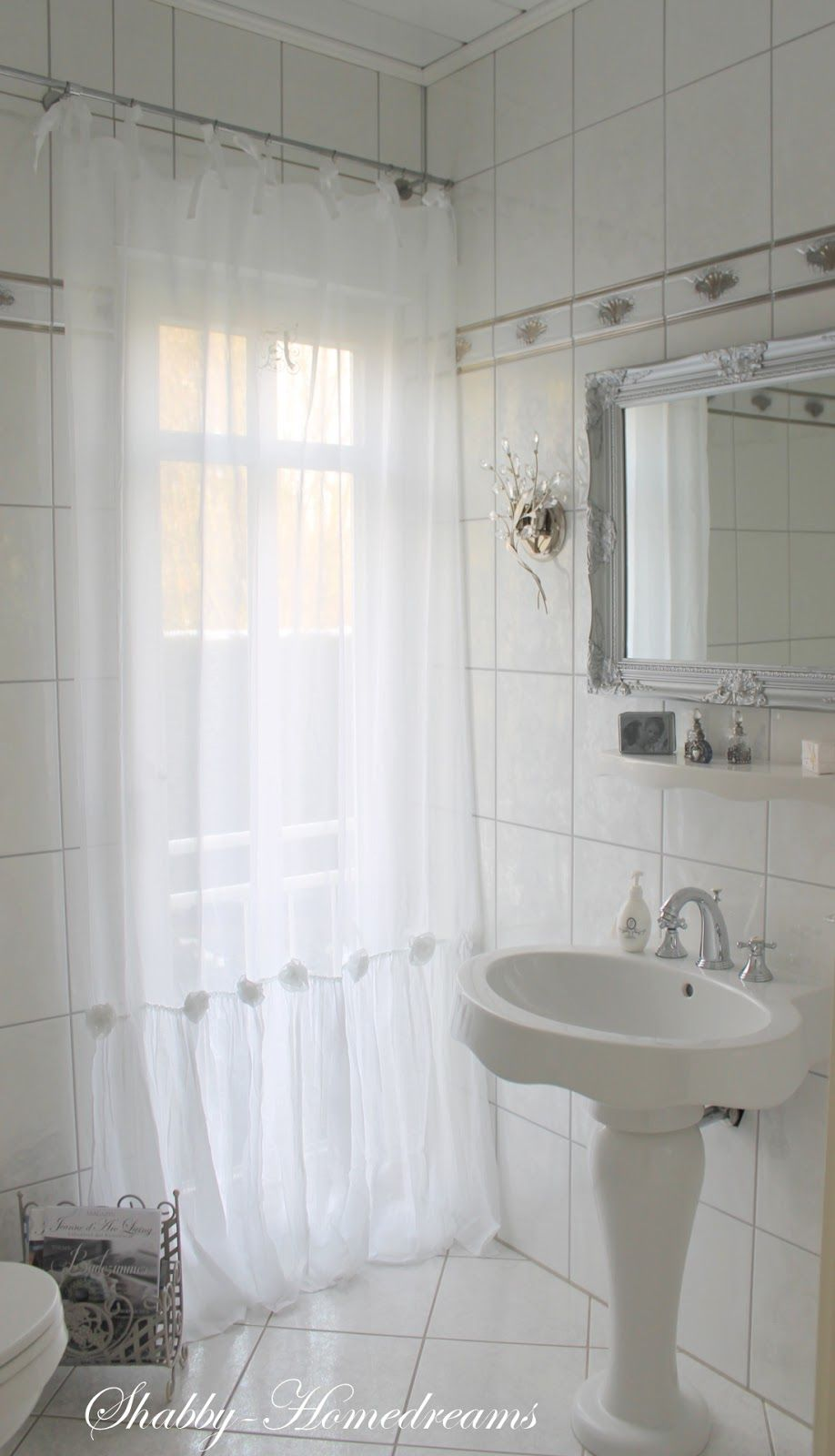 Bathroom Curtains. White, Chippy, Shabby Chic, Whitewashed, Romantic ...