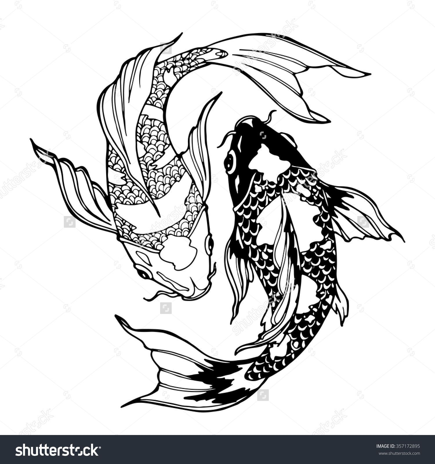 Illustration Koi Carp Coloring Page Yin Stock Vector Royalty Free 357172895 In 2020 Koi Fish Drawing Koi Art Fish Coloring Page