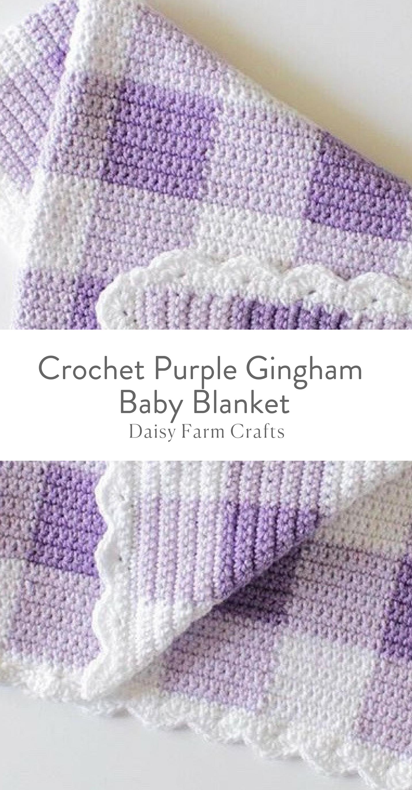 Free Pattern - Crochet Purple Gingham Baby Blanket | crochet ...
