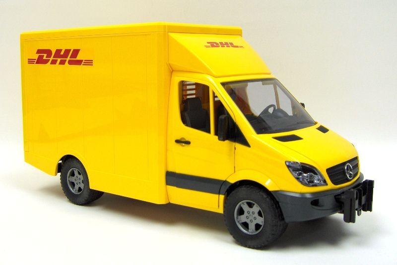 1 16th bruder mercedes benz sprinter dhl truck w a pallet jack toy toys bruder playable. Black Bedroom Furniture Sets. Home Design Ideas
