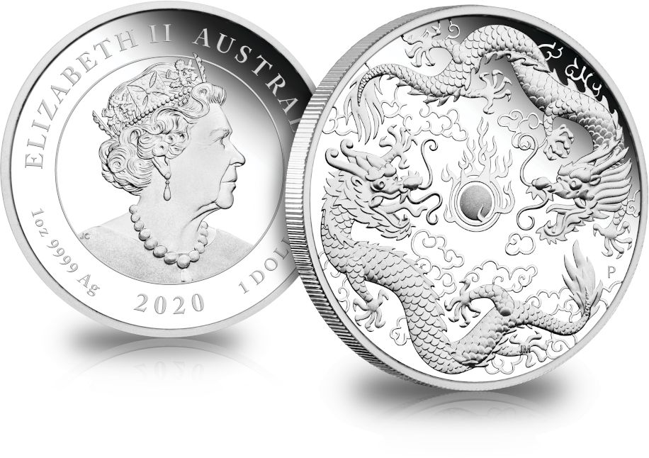 2020 1 Oz Australia Double Dragon 9999 Silver Proof Coin In 2020 Proof Coins Double Dragon Coins