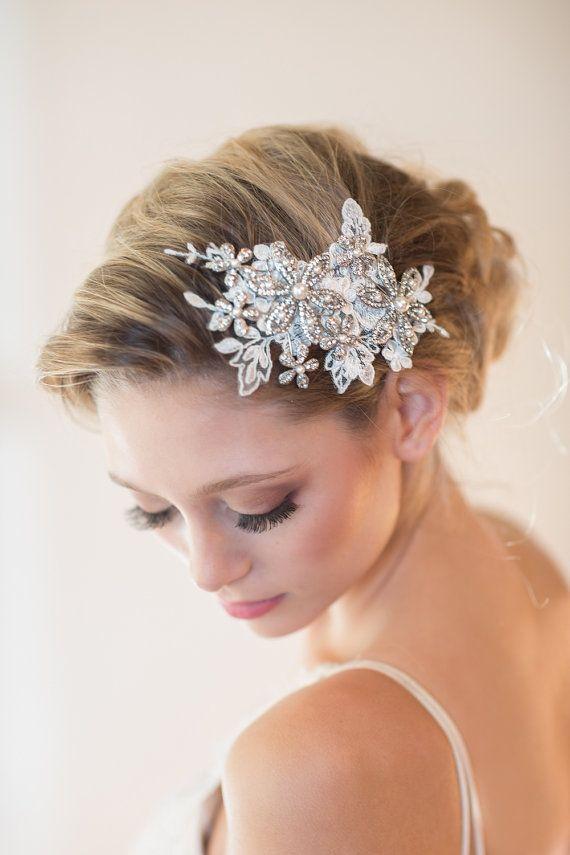 wedding headpiece bridal hair accessory lace by powderbluebijoux