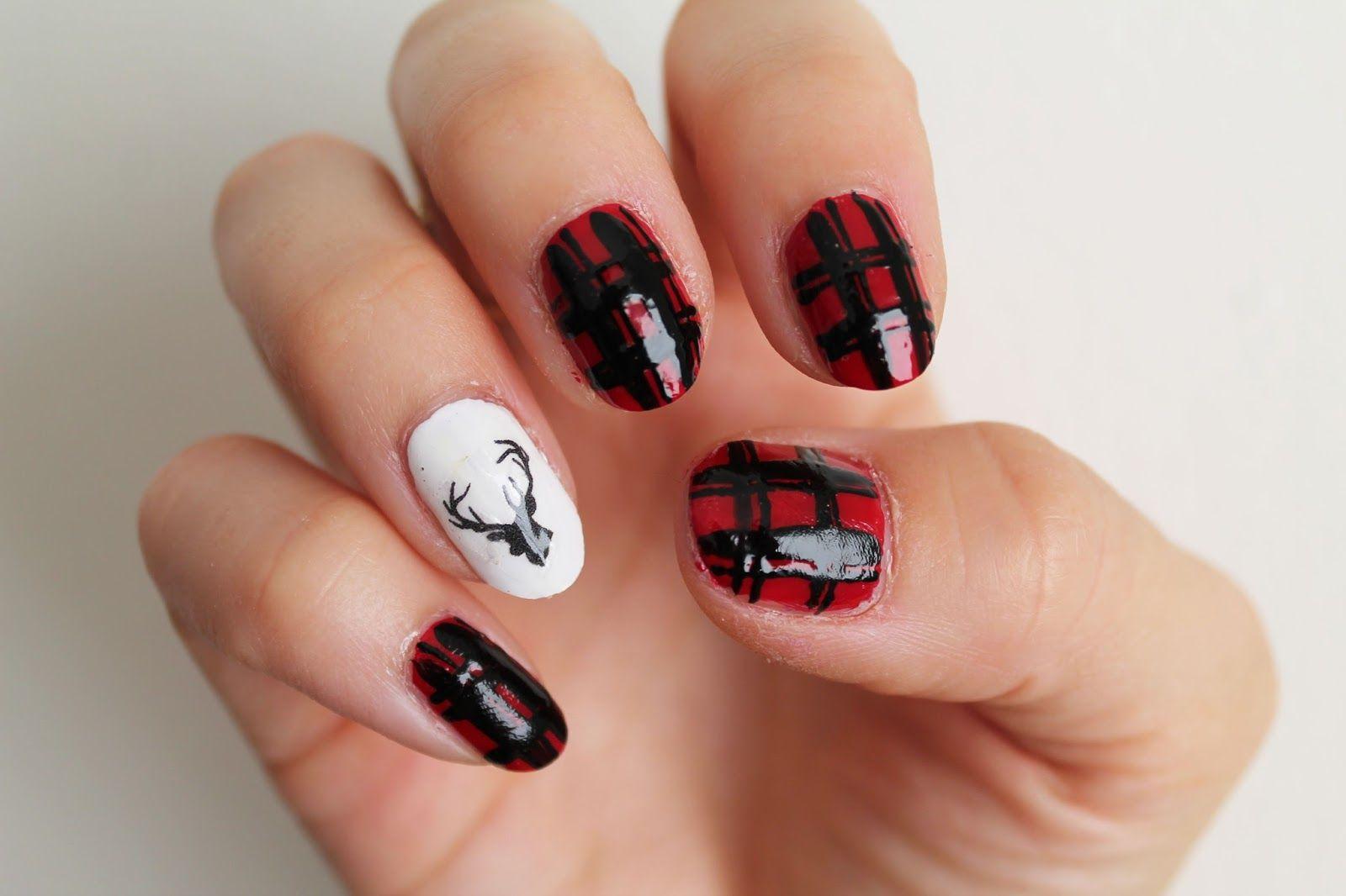 Holiday nail art up on the blog. Christmas nail art Deer nail art ...