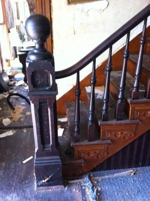 Complete Antique Staircase With Walnut Handrail Large Newel Post | Antique Handrails For Stairs | Antique Brass | Wood | Antique Green | Antique Furniture | Architectural Antiques