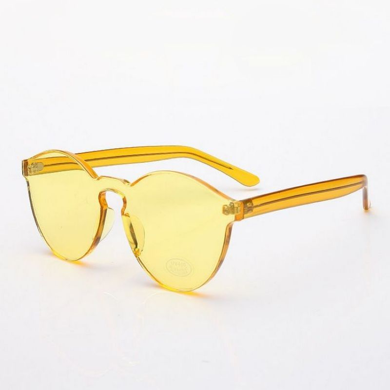 922b6d39ca Classic Round Crystal Yellow Sunglasses Transparent Anti-UV Lens