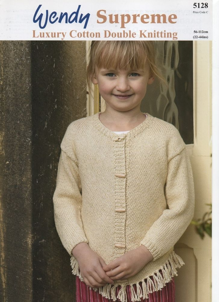 Wendy Chic Luxury Cotton Dk Tassled Girls Cardigan Knitting Pattern