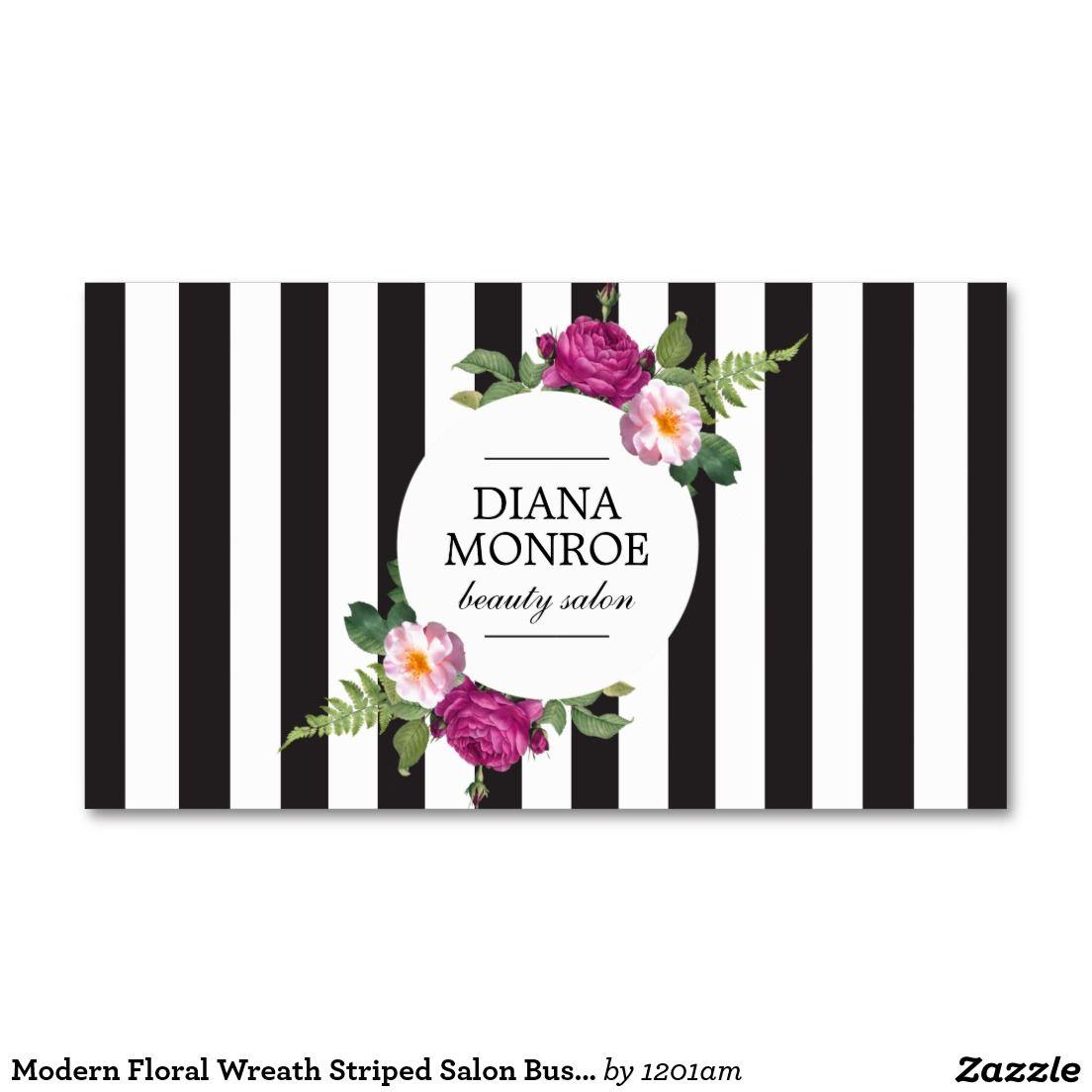 Modern Floral Wreath Striped Salon Business Card Salones
