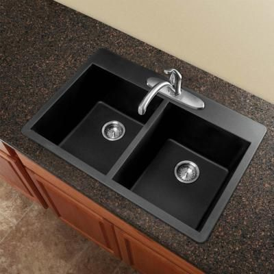 Radius Drop In Granite 33 In. 1 Hole Equal Double Bowl Kitchen Sink In Black
