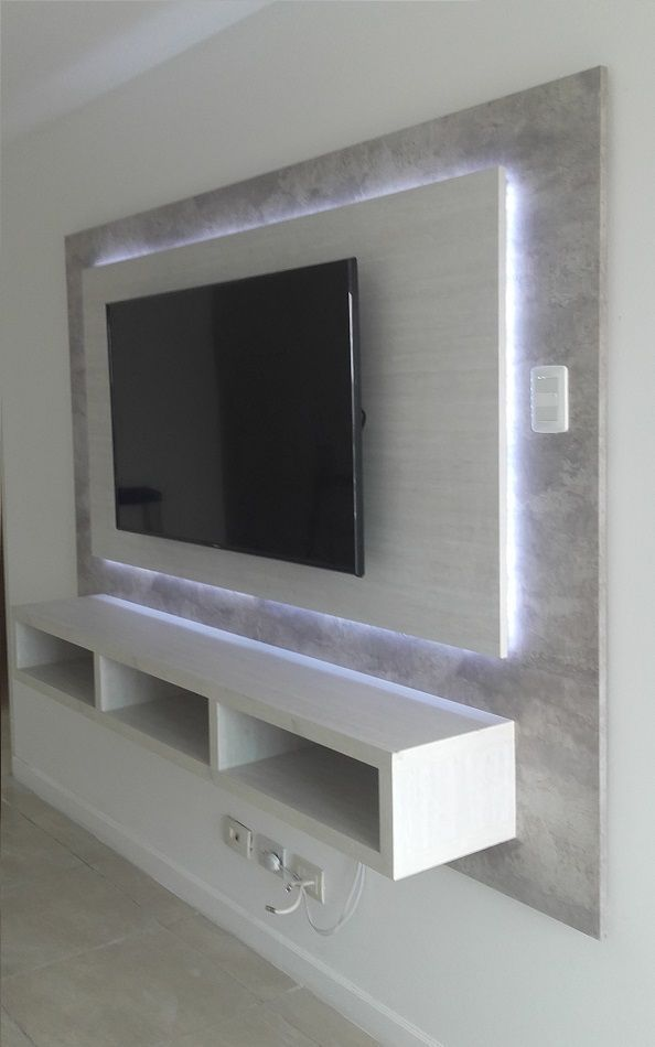 Tv Unit Designs In The Living Room: Panel De TV Con Detalle De
