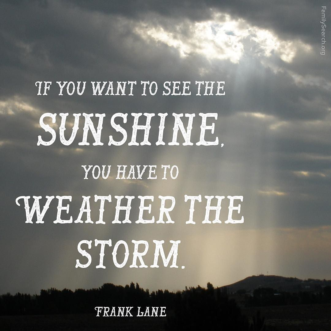 If You Want To See The Sunshine You Have To Weather The Storm
