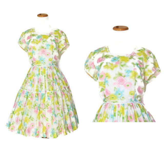 50s Floral Dress / 50s Dress / 1950s Dress / Pastel Dress / Watercolor Dress / 50s Sundress / 1950s Sundress / Tiered Dress / Medium by GoodLuxeVintage on Etsy