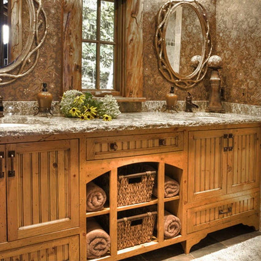 Small rustic bathrooms rustic bathroom d cor ideas for a country style interior bathrooms Bathroom design ideas country