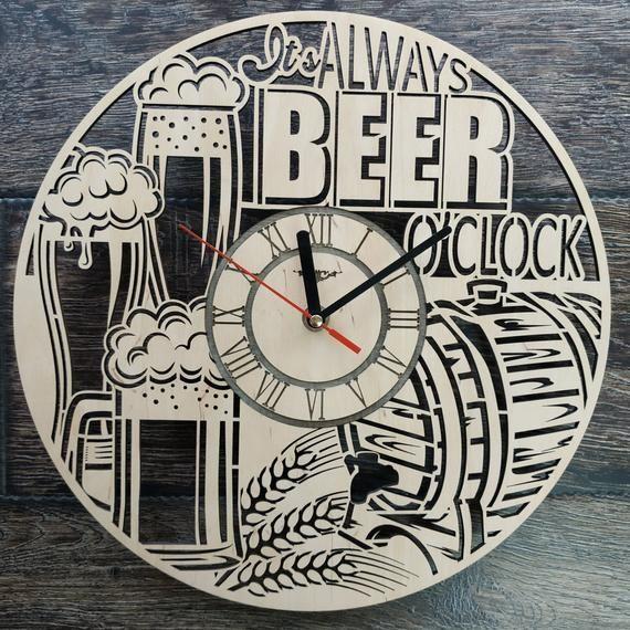 Beer Wood Wall Clock Beer Lover Home Kitchen Bedroom Wall Etsy In 2020 Beer Wood Wood Wall Clock Wall Clock