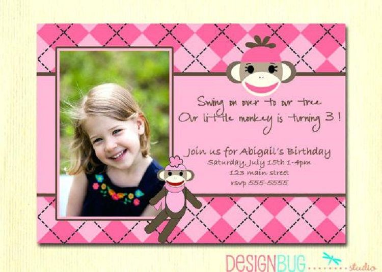 Pink Birthday Invitation Quotes For 3 Year Old