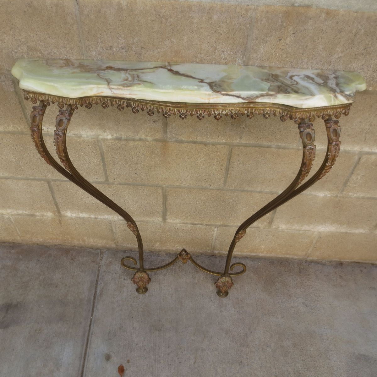 Elegant French Antique Marble Top Console Table Circa 1900