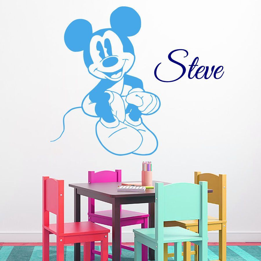 Wall Decal Mickey Mouse Vinyl Sticker Custom Boy Name Decal Nursery Decor KG919  sc 1 st  Pinterest : mickey mouse vinyl wall decal - www.pureclipart.com